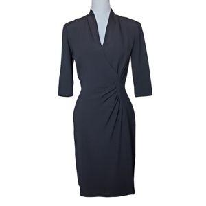 Tahari Black 3/4 Sleeve Sheath Dress 4 Lined